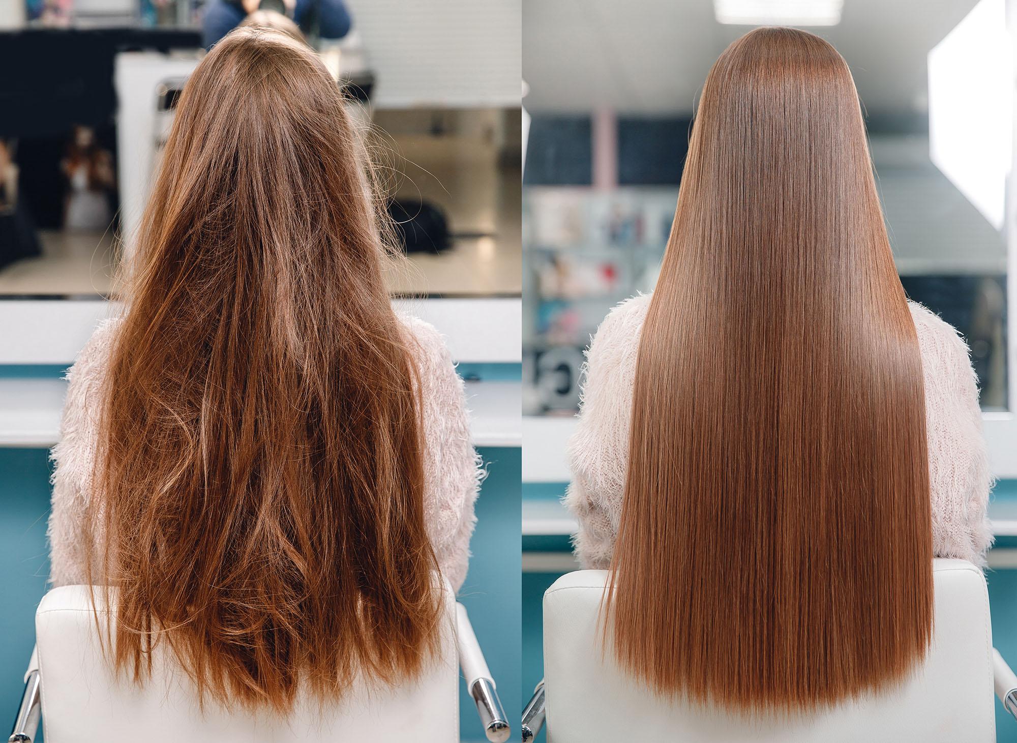 włosy przed i po laminowaniu