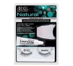 Ardell Rzęsy i akcesoria Natural Babies 1 para sztucznych rzęs Black + Lash Adhesive klej do rzęs 2,5g + Lash Applicator aplikator do rzęs