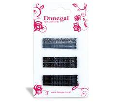 Donegal wsuwka do włosów wąska czarna i szara (FA-5504) 1 op. - 24 szt.