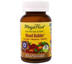 Mega Food Blood Builder suplement pomagający utrzymać prawidłowy poziom żelaza we krwi suplement diety 30 tabletek