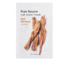 Missha Pure Source Cell Sheet Mask bawełniana maska na twarz Red Ginseng 21g