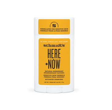 Schmidt's Natural Deodorant Here + Now – naturalny dezodorant w sztyfcie do skóry wrażliwej z aktywnym węglem (58 ml)