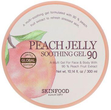 Skinfood – Peach Jelly Soothing Gel łagodząco-nawilżający brzoskwiniowy żel do twarzy i ciała (300 ml)