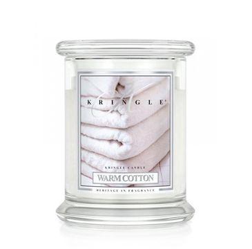 Kringle Candle – świeca zapachowa z dwoma knotami Warm Cotton (411 g)