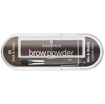 Essence – Brow Powder Set zestaw do stylizacji brwi z pędzelkiem 02 Dark & Deep (2.3 g)