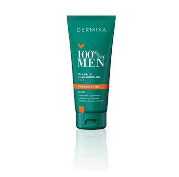 Dermika – 100% for Men Powerstarter 3w1 żel & peeling & maska mentolowa (100 ml)