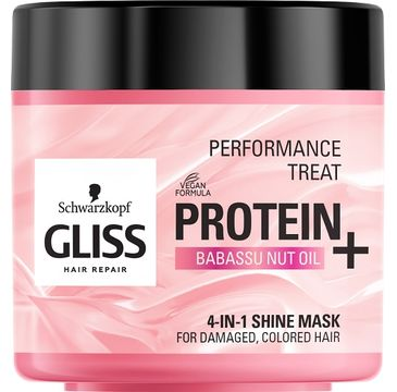 Gliss Kur – Performance Treat 4-in-1 Shine Mask maska nabłyszczająca do włosów Protein + Babassu Nut Oil (400 ml)