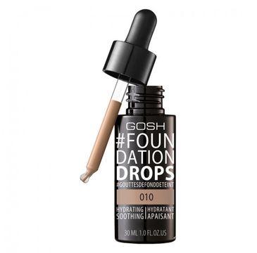 Gosh Foundation Drops 010 Tan (nawilżająco-wygładzający podkład do twarzy 30 ml)
