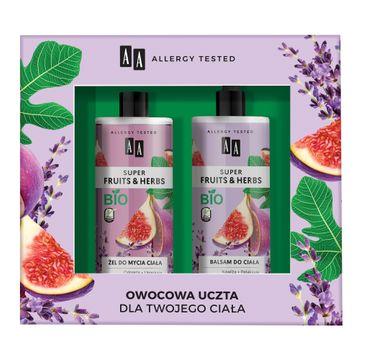 AA – Super Fruits & Herbs zestaw żel do mycia ciała figa&lawenda 500ml + balsam do ciała figa&lawenda 500ml (1 szt.)