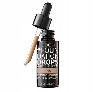 Gosh Foundation Drops – nawilżająco-wygładzający podkład do twarzy 008 Honey (30 ml)