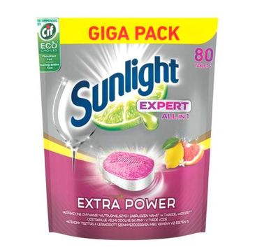 Sunlight Expert All In 1 Extra Power tabletki do mycia naczyń w zmywarkach Lemon 80szt