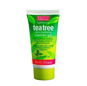 Beauty Formulas – Tea Tree Skin Clarifying Blemish Gel punktowa kuracja na pryszcze (30 ml)