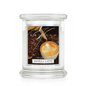 Kringle Candle – Średnia świeca zapachowa z dwoma knotami Vanilla Latte (411 g)