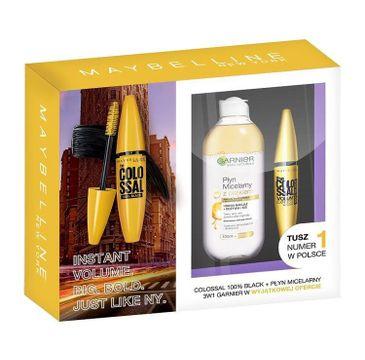 Maybelline Zestaw The Colossal 100% Black Mascara tusz do rzęs 10.7ml + Garnier Skin Naturals płyn micelarny z olejkiem 400ml