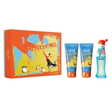 Moschino – Zestaw  I Love Love woda toaletowa spray 50ml + żel pod prysznic 100ml + balsam do ciała 100ml (1 szt.)