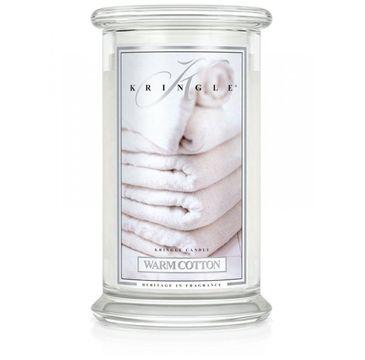 Kringle Candle – świeca zapachowa z dwoma knotami Warm Cotton (623 g)