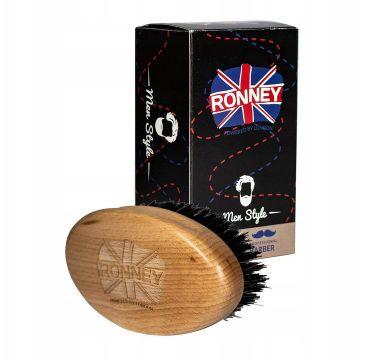 Ronney – Wooden Beard Brush drewniana szczotka do brody z naturalnego włosia Duża Jasna (1 szt.)
