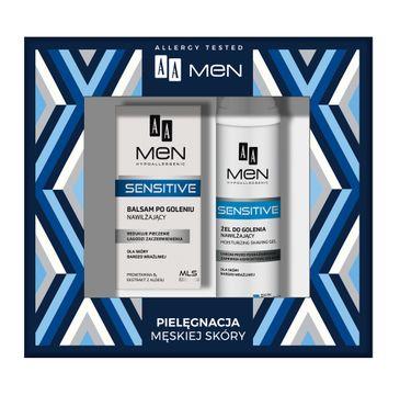 AA – Men Sensitive zestaw żel do golenia nawilżający dla skóry bardzo wrażliwej 200ml + balsam po goleniu nawilżający dla skóry bardzo wrażliwej 100ml (1 szt.)