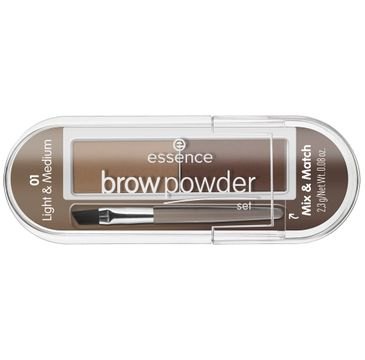 Essence – Brow Powder Set zestaw do stylizacji brwi z pędzelkiem 01 Light & Medium (2.3 g)