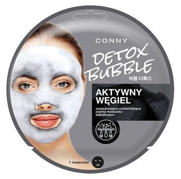 Conny Detox Bubble Mask – oczyszczająco-rozświetlająca czarna maseczka bąbelkująca do twarzy Aktywny Węgiel (1 szt.)