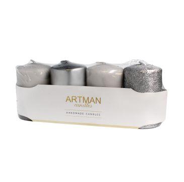 Artman – Świeca ozdobna 4-pack Mix srebrna - walec mały (1op. - 4 szt.)