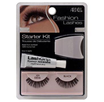 Ardell Fashion Lashes Starter Kit – zestaw sztuczne rzęsy 101 Demi Black + Lash Grip Waterproof klej do rzęs (7 g) + aplikator (1 op.)