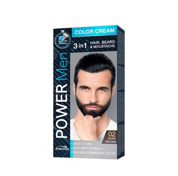 Joanna Power Men Color Cream Farba do włosów 3in1 dla mężczyzn nr 02 Dark Brown 100 g