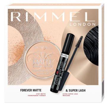 Rimmel – zestaw prezentowy Forever Matte & Super Lash – tusz do rzęs Extra Super Lash (12 ml) + puder Stay Matte (14 g)