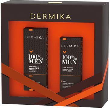 Dermika – 100% for Men zestaw krem przeciw zmarszczkom i bruzdom 50+ dzień i noc 50ml + krem przeciw zmarszczkom wokół oczu 15ml (1 szt.)