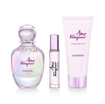 Salvatore Ferragamo – Amo Ferragamo Flowerful zestaw woda toaletowa spray 100ml + miniaturka wody toaletowej spray 10ml + balsam do ciała 50ml (1 szt.)