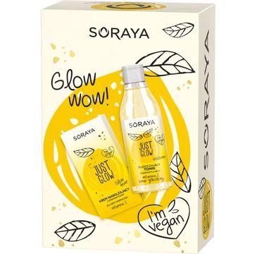 Soraya – Just Glow zestaw krem nawilżający do cery normalnej 50ml + złuszczający tonik rozświetlający 150ml (1 szt.)