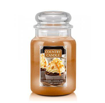 Country Candle – Duża świeca zapachowa z dwoma knotami Caramel Chocolate (680 g)