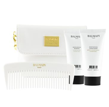 Balmain – Limited Edition Cosmetic Bag Summer 2019 zestaw kosmetyczka + nawilżający szampon do włosów 50ml + nawilżająca odżywka do włosów 50ml + grzebień (1 szt.)