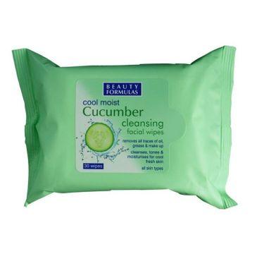 Beauty Formulas – Cucumber Cleansing Facial Wipes oczyszczające chusteczki do demakijażu z ekstraktem z ogórka (30 szt.).