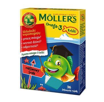 Möller's – Omega-3 Rybki żelki z kwasami omega-3 i witaminą D3 dla dzieci Malinowe (36 szt.)