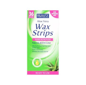 Beauty Formulas – Wax Strips Hair Remover plastry do depilacji twarzy i okolic bikini Aloe Vera (36 szt.)