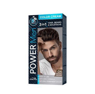 Joanna Power Men Color Cream Farba do włosów 3in1 dla mężczyzn nr 04 Natural Brown 100 g