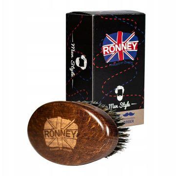 Ronney – Wooden Beard Brush drewniana szczotka do brody z naturalnego włosia Duża Ciemna (1 szt.)