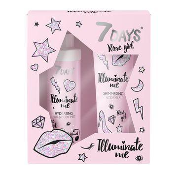 7DAYS Illuminate Me Rose Girl zestaw mleczko do ciała 150ml + perfumowana mgiełka do ciała i włosów 180ml (1 szt.)
