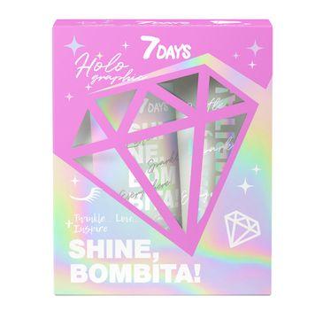 7DAYS Shine Bombita! Holo zestaw rozświetlający kokosowy peeling do ciała 200g + rozświetlające mleczko do ciała (150 ml)