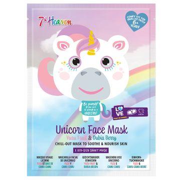 7th Heaven Unicorn Face Mask kojąco-odżywcza maseczka w płachcie Yuzu Fruit & Dubia Berry (1 szt.)
