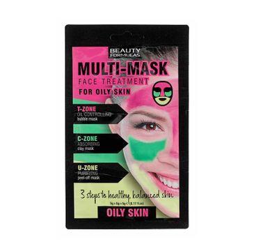 Beauty Formulas – Multi Mask Face Treatment zabieg na twarz do cery tłustej (3 x 5 g)