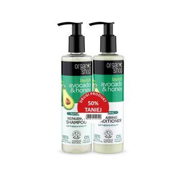 Organic Shop – Zestaw szampon+odżywka do włosów odbudowujący Awokado