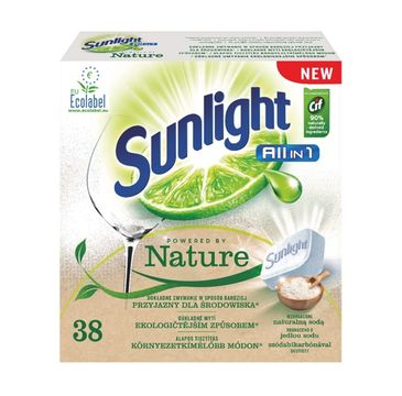 Sunlight All In 1 Powered By Nature tabletki do mycia naczyń w zmywarkach 38szt