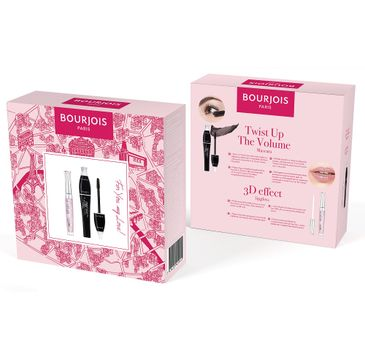Bourjois –  For You My Love! zestaw Twist Up The Volume Mascara tusz do rzęs Ultra Black 8ml + 3D Effect Lipgloss błyszczyk do ust 29 Rose Charismatic 5.7ml