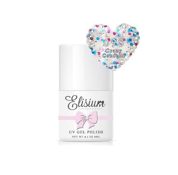 Elisium – lakier hybrydowy do paznokci UV Gel Polish 098 Crazy Conffetti (8 ml)