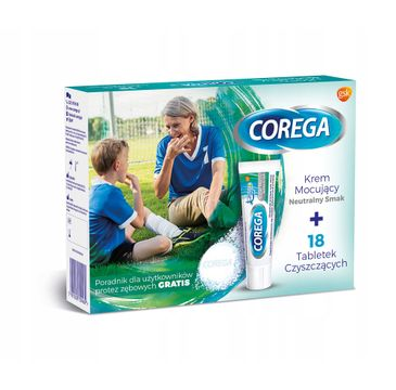 Corega – zestaw krem mocujący Neutralny Smak (40 g) + tabletki do czyszczenia protez zębowych (18 szt.)