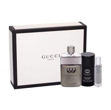 Gucci Guilty Pour Homme (zestaw woda toaletowa spray 90 ml + dezodorant sztyft 75 ml + miniaturka wody toaletowej 15 ml)