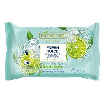 Bielenda – Fresh Juice chusteczki micelarne Limonka do demakijażu twarzy, oczy i ust (20 szt.)