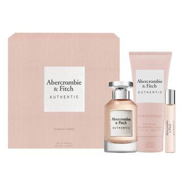 Abercrombie&Fitch Authentic Woman zestaw woda perfumowana spray 100ml + miniatura wody perfumowanej 15ml + balsam do ciała 200ml